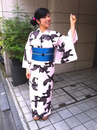 「岡重」浴衣 ヤタガラス・ピンク  ¥36,750