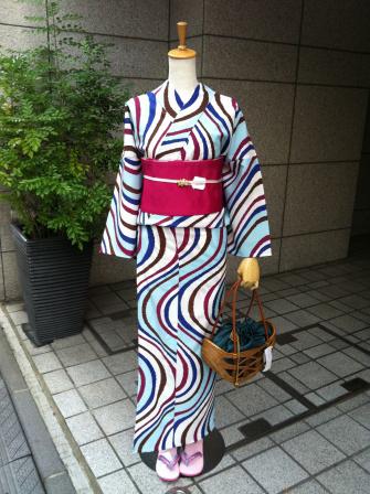 「きもの道楽」浴衣 流水・水色   ¥28,350