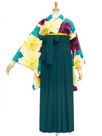 着物No.933 百合づくし(オフ) 袴02 緑