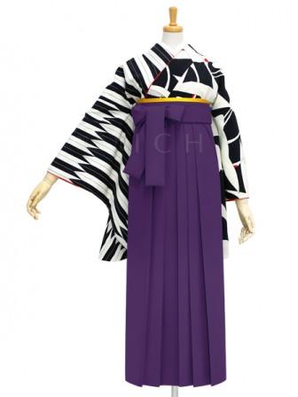 着物No.901 鶴×矢羽根(黒) 袴03 紫