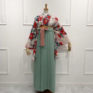 梅椿・ピンク(限定柄)×袴 ミント縞リボン