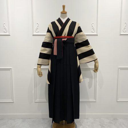 太縞・黒×白(限定柄)×袴 黒縞リボン