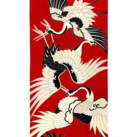 【袷小紋】古典鶴・赤