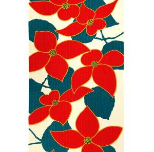 【袷小紋】桔梗・赤